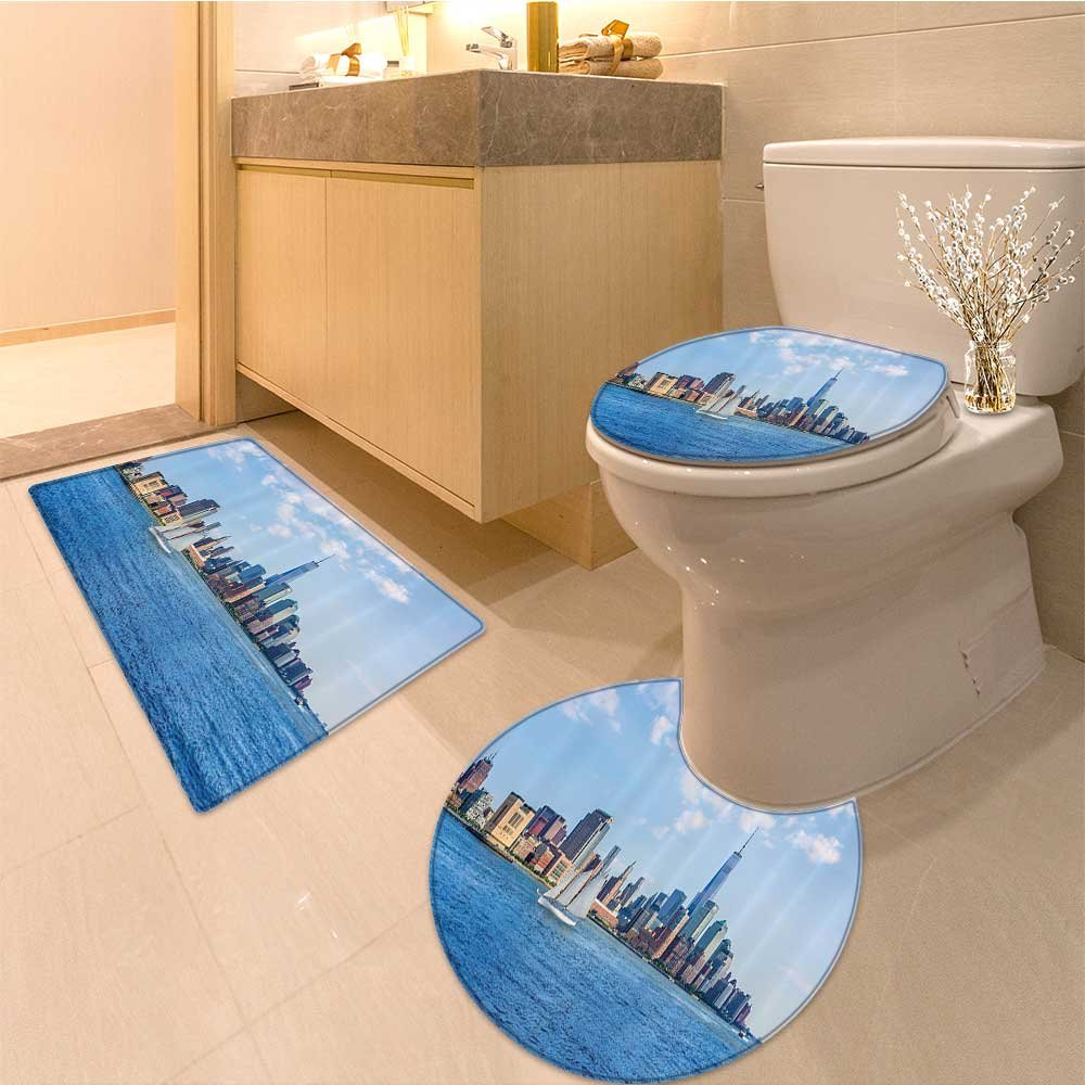 3 Piece Anti-slip mat set Manhattan Skyline Sunshine Us Clear Sky Tower Skyscraper Extralong Non Slip Bathroom Rugs by NALAHOMEQQ