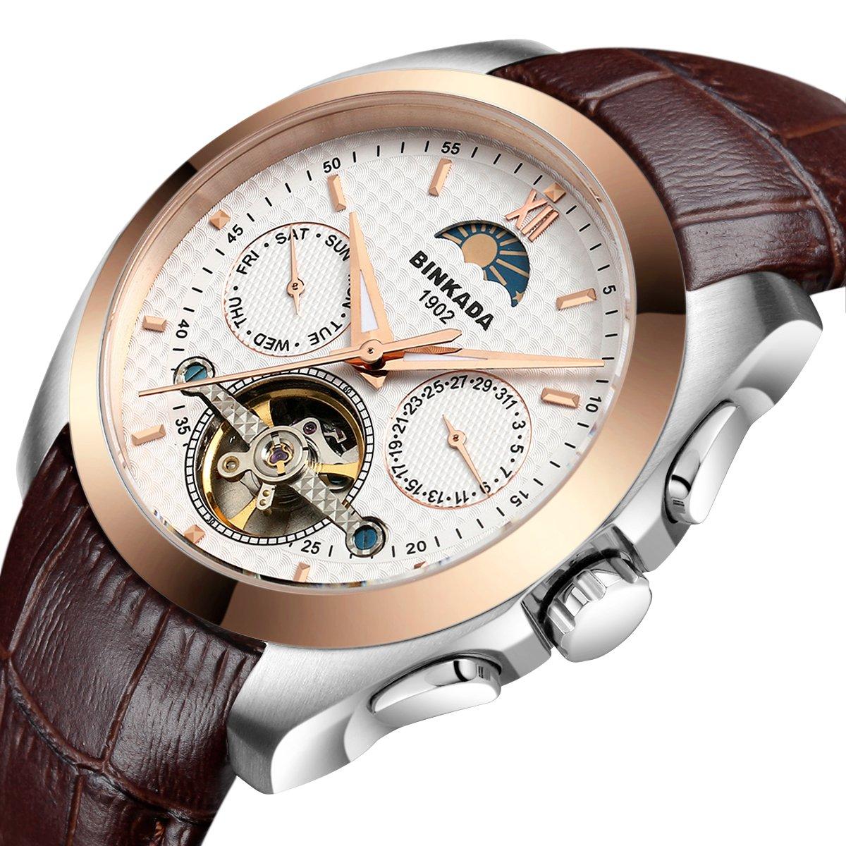 BINKADA 5ポインタ自動機械ビジネスカジュアルメンズ腕時計for Mens Wrist Watches Brown Band-Gold White Dial B018M84UCA Brown Band-Gold White Dial Brown Band-Gold White Dial