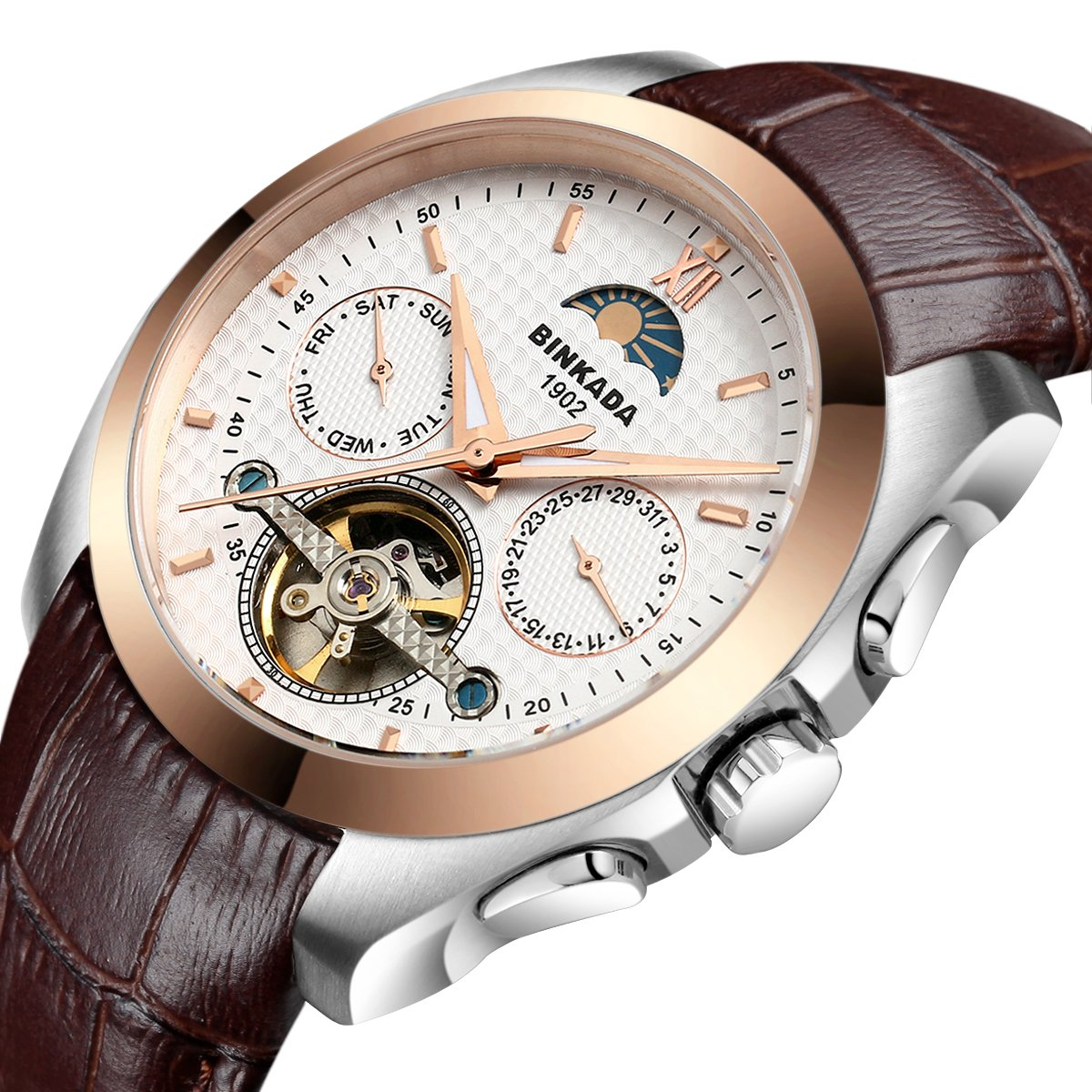 BINKADA 5 Pointer Automatic Mechanical Business Casual Men's Watch for Mens Wrist Watches