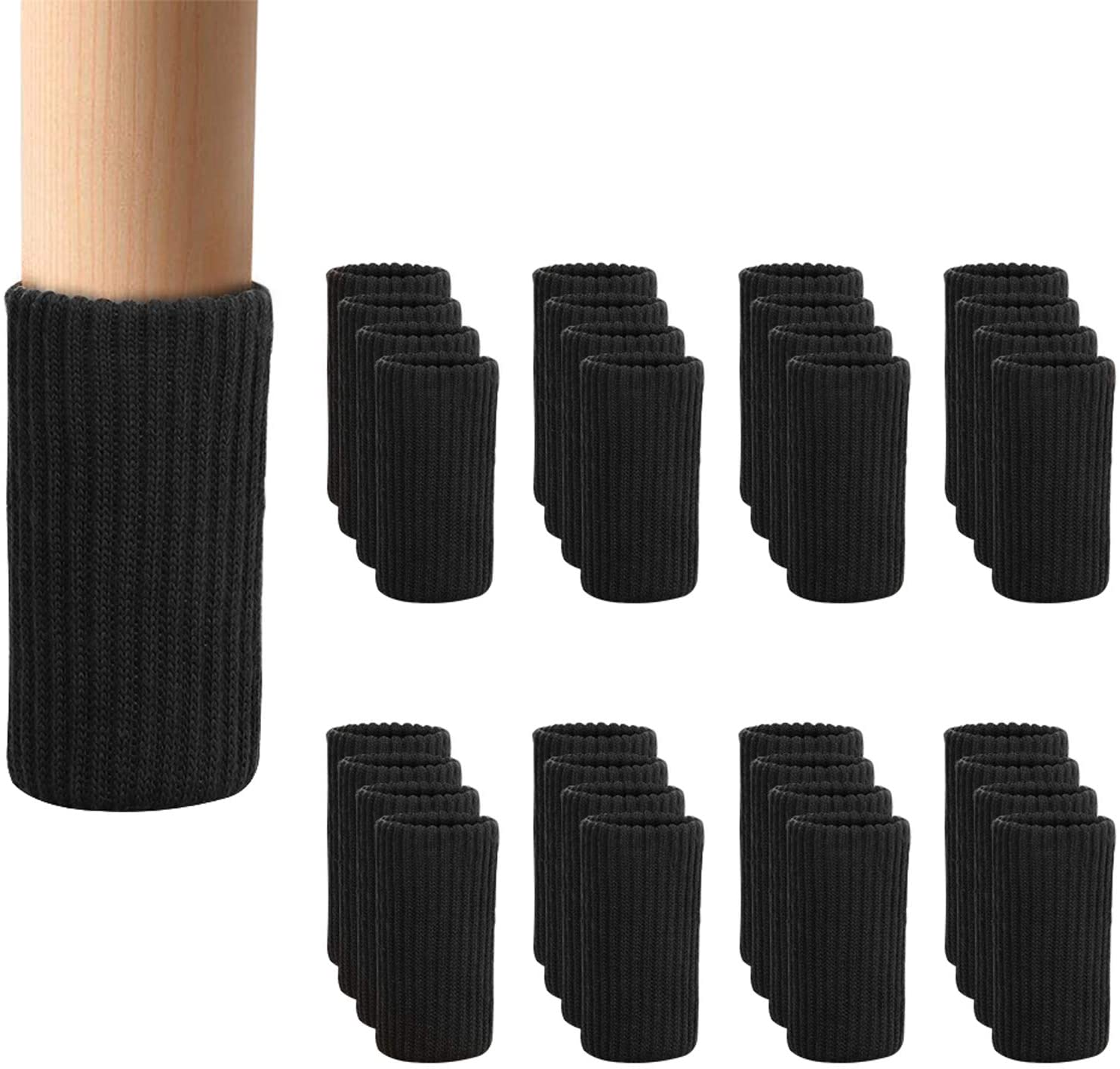 32 PCs Black Furniture Leg Socks - Knitted Chair Leg Floor Protectors for Moving Easily and Reduce Noise, Double Thickness High Elastic Furniture Booties Covers Furniture Caps Set