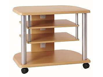Haku Möbel 91700 - Mueble de televisor (tubo de acero, aluminio y madera de haya): Amazon.es: Hogar