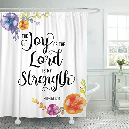 TOMPOP Shower Curtain Colorful Joy Of The Lord Is My Strength Scripture Waterproof Polyester Fabric 72