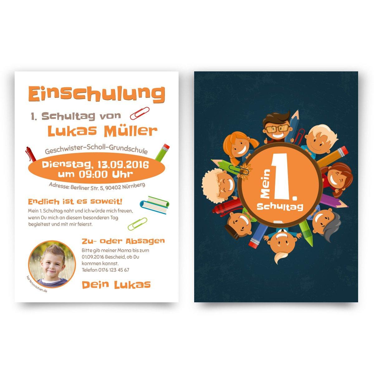 Schultag Kinder erster Tag Einladung Mein 1 Einladungskarten zur Einschulung