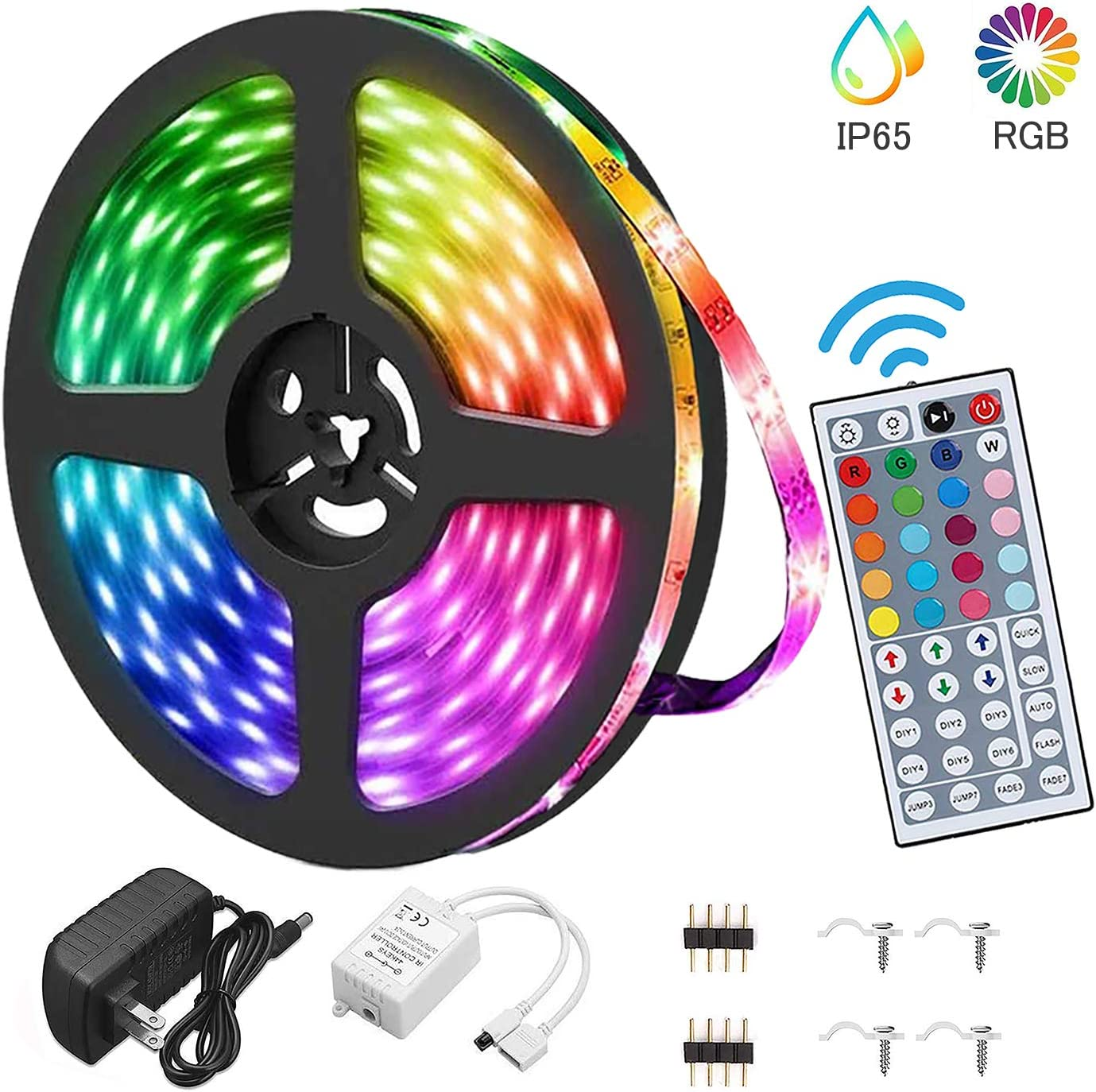 Led Strip Light Waterproof 16.4FT/5M Flexible Color Changing RGB 5050 led Strip Light Kit with 44 Keys IR Remote Controller and 12V Power Supply for Bedroom Home Kitchen Decoration DIY Decoration