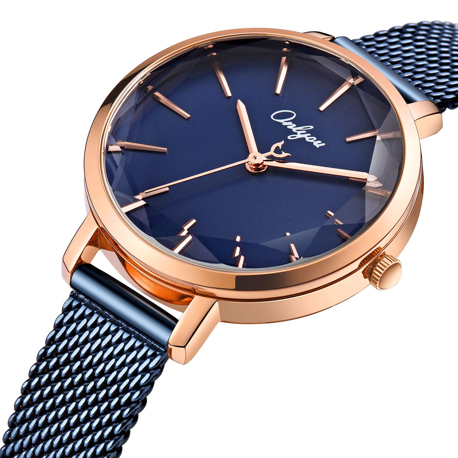 ONLYOU Women's Fashion Watches,Unique Face Design and 30M Waterproof,Analog Quartz Wristwatches with Stainless Steel Mesh Band (Blue) by onlyou (Image #2)