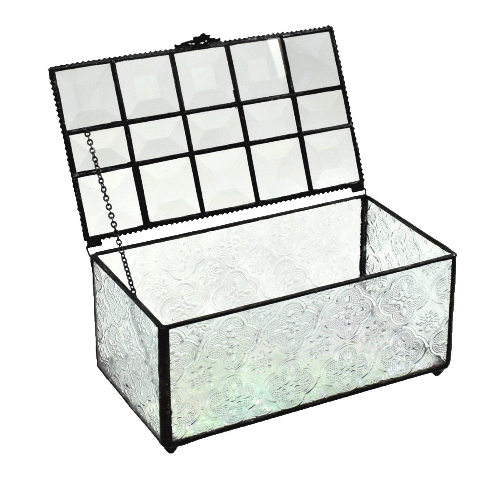 J Devlin Box 370 Large Glass Box Decorative Keepsake Jewelry Display Vintage Stained Glass Vanity Decor