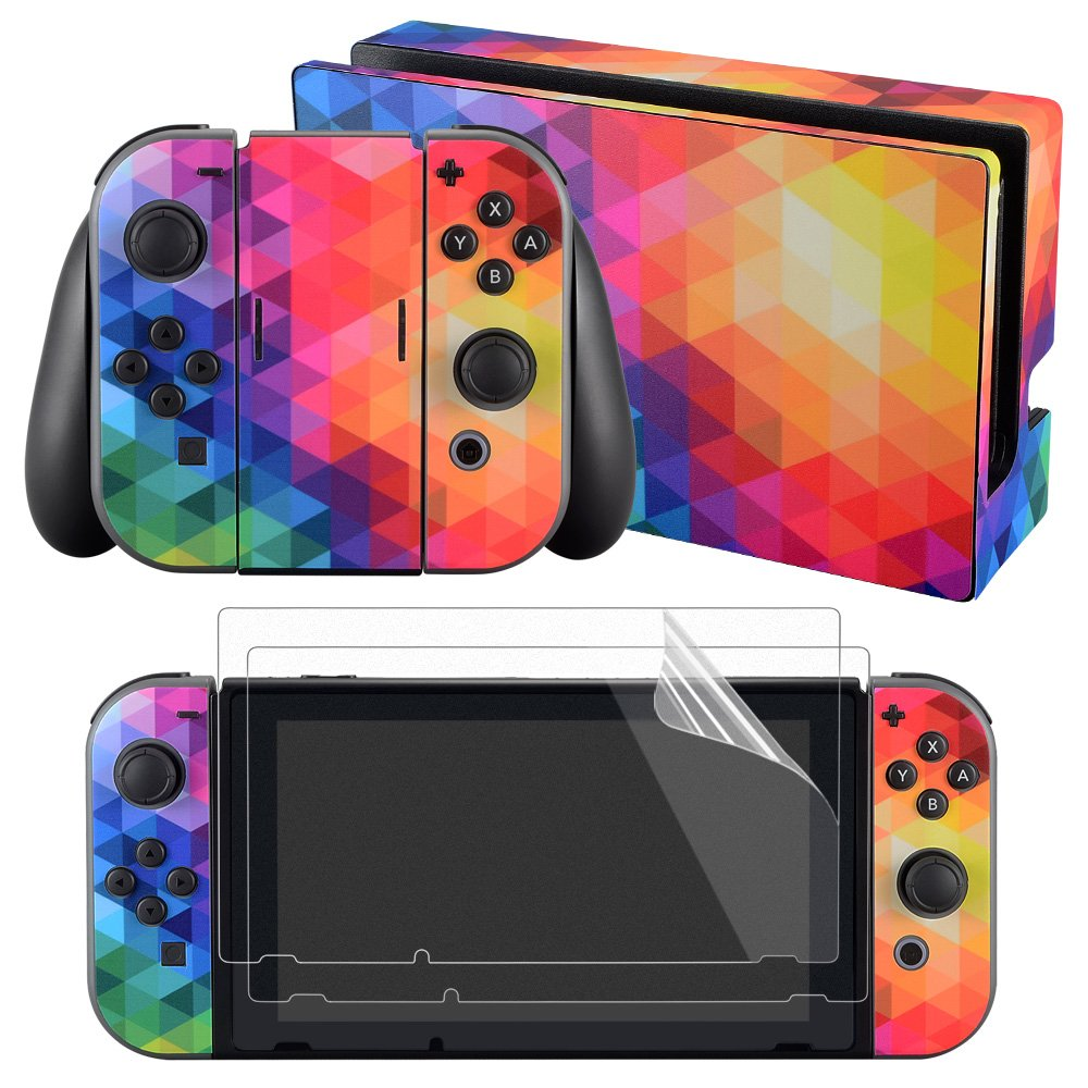 eXtremeRate Full Set Faceplate Skin Decal Stickers for Nintendo Switch with 2Pcs Screen Protector (Console & Joy-con & Dock & Grip) -Colorful Triangle