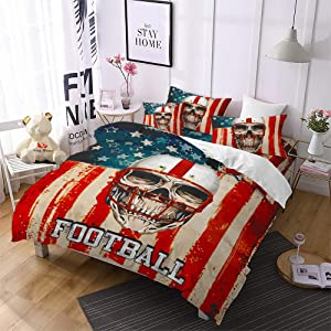 American Flag Duvet Cover 3PC Full Size USA Flag Skull Bedding American Fourth of July Theme Red Blood Skull Nostalgia USA Flag Bed Set 1 USA Flag Quilt Cover+2 Pillowcases Retro Red