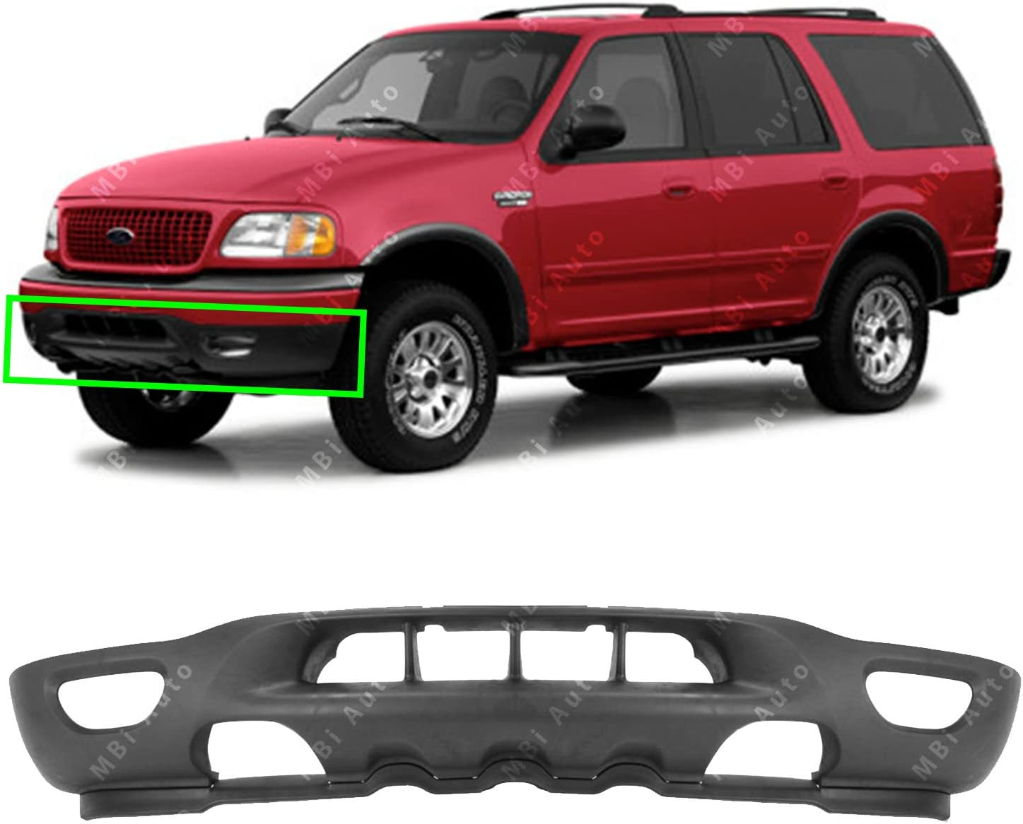amazon com mbi auto textured black front bumper valance for 1999 2002 ford f150 expedition w tow fog holes 99 02 fo1095181 automotive mbi auto textured black front bumper valance for 1999 2002 ford f150 expedition w tow fog holes 99 02 fo1095181