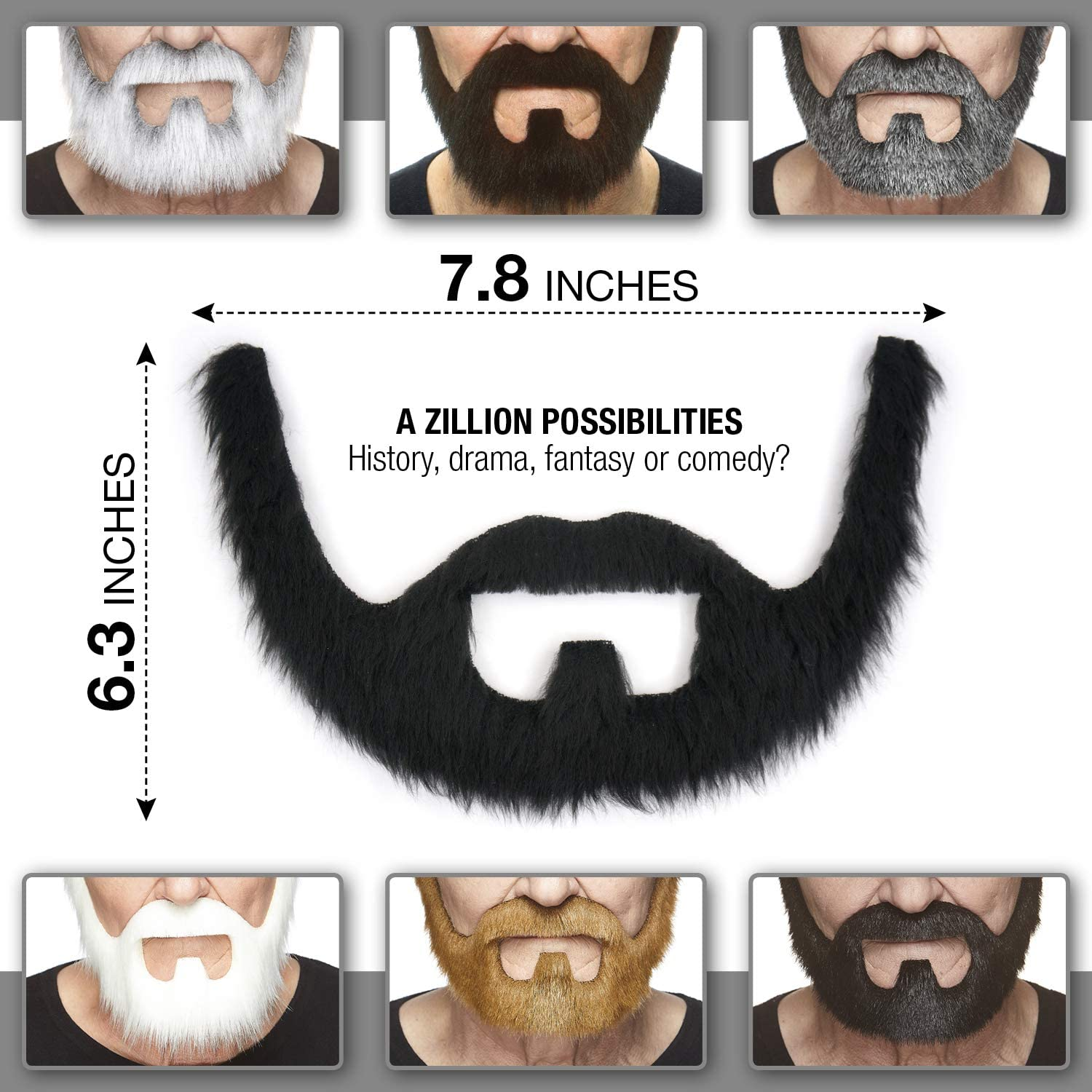 New Long Beard and Moustach Historical Book Character Fancy dress