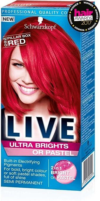 Schwarzkopf Tinte semipermanente Live Ultra Brights o Pastel Red Pilar Box