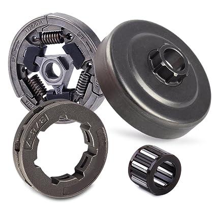 letaosk cadena piñón embrague del tambor y aguja jaula rodamientos para compatible con Stihl 044 046