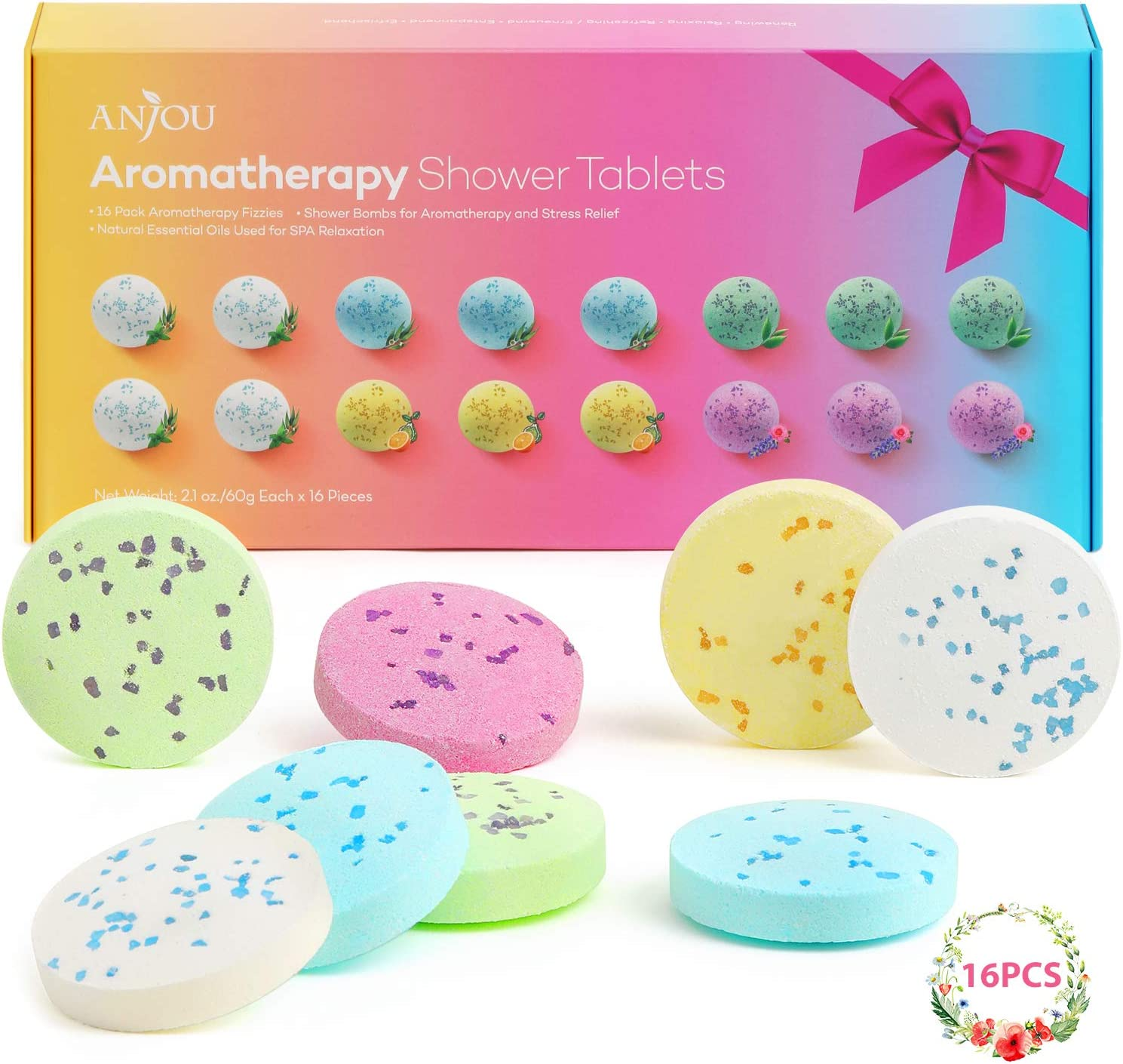 Shower Bomb Tablets Aromatherapy Bath Bombs with Pure Essential Oils 16-Piece Shower Fizzers Streamers Melts Vapor for Home Spa Gift Set: Health & Personal Care