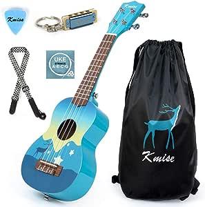 Soprano Ukulele 21 inch Basswood Uke Instrument Gift for Beginners Kids with Carry Bag String Pick Strap