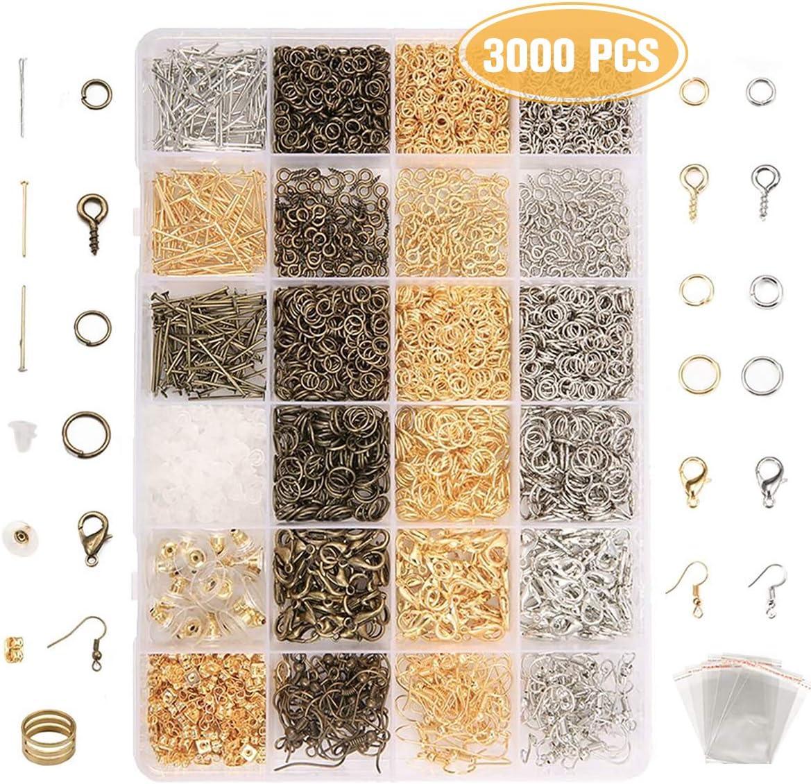 Jeteven DIY Kit de Pulsera Bronces Conjunto con un Algodón Perla Accesorios Pendientes DIY Fabricación de Materiale de Joyeria para Hacer Bisuteria (3000 Pcs)