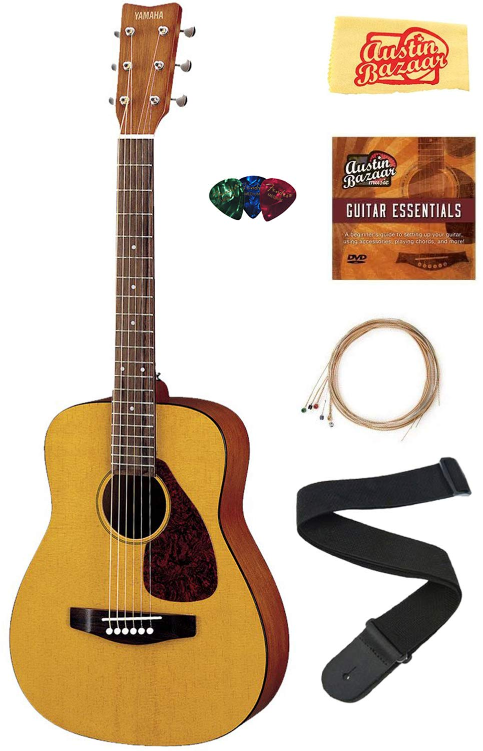 Yamaha JR1 1/2-Scale Mini Acoustic Guitar Bundle with Strings, Picks, Austin Bazaar Instructional DVD, and Polishing Cloth by YAMAHA