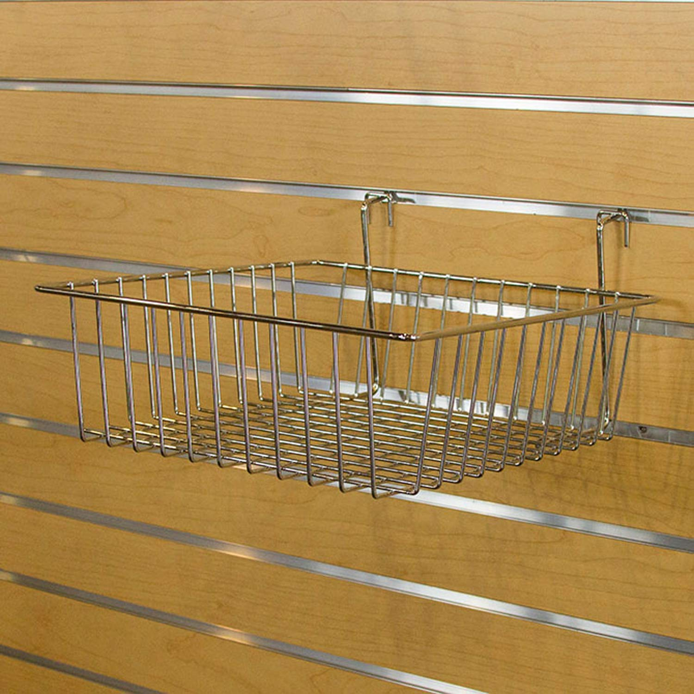 Multi Basket Slatwall Gridwall Pegboard Slatgrid 12'' W x 12''D x 4''H Retail Display Fixture Chrome Lot of 8 New