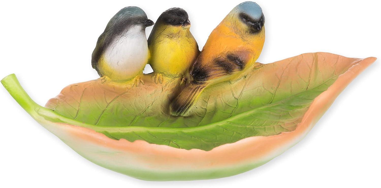 Transpac Leaf with Three Birds Perched Natural Green 11 x 7 Resin Stone Birdbath