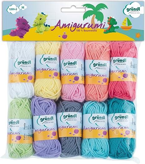 Gründl Amigurumi Kit de Ganchillos, Algodón, Multicolor, 19.50x18x2.6 cm, 1 pack de 10 unidades: Amazon.es: Hogar