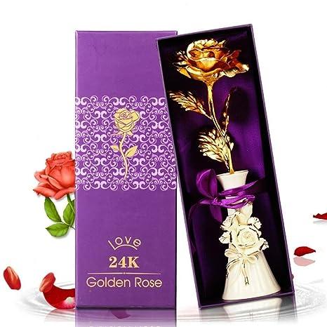 Amazon.com: XJ&DD - Ramo de rosas de oro de 24 quilates para ...