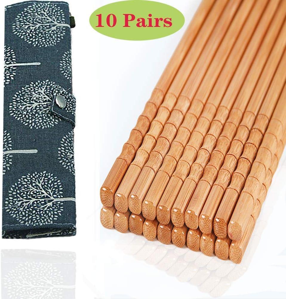 10-Pairs Reusable Bamboo Chopsticks Set, Travel Chopsticks with Case Reusable Chinese Korean Japanese Bamboo Portable Chopsticks Utensil Dishwasher Safe