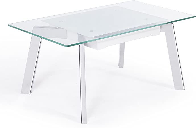 Adec Mesa de Centro elevable, mesita de Cristal Templado Blanco y Patas Color Cromo Modelo Sweden, Medidas: 100x55 cm de Fondo: Amazon.es: Hogar