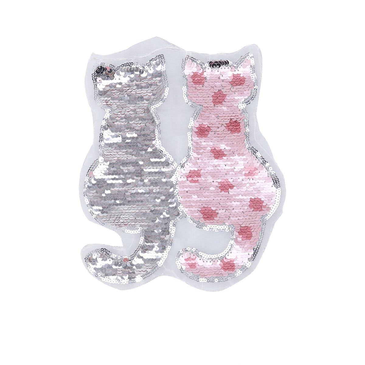 ULTNICE Gatto reversibile color cambiando paillettes cucito vestiti fai da te toppe vestiti accessori (rosa)