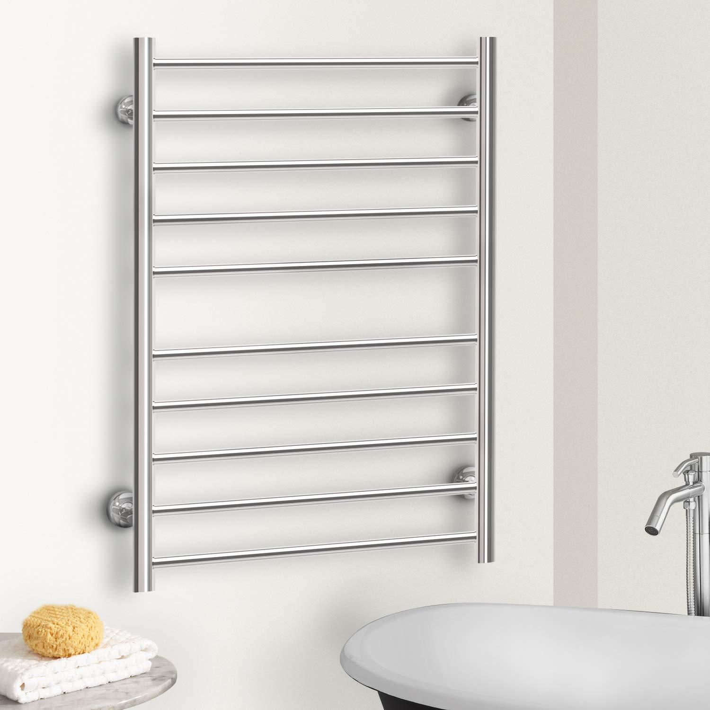 Hromee Wall Mounted Plug-in Straight Towel Warmer Electric Heated Drying Racks for Bathroom Stainless Steel 10 Bars Polished 100 Watt