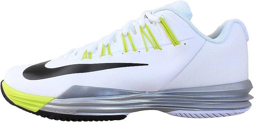 Nike - Zapatillas de tenis para hombre blanco Blanco/negro/amarillo Talla:9 UK: Amazon.es: Deportes y aire libre