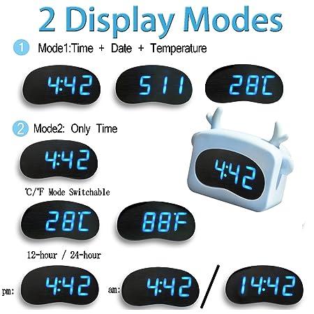 Amazon.com: Qiekenao Digital Alarm Clock LED Portable USB ...