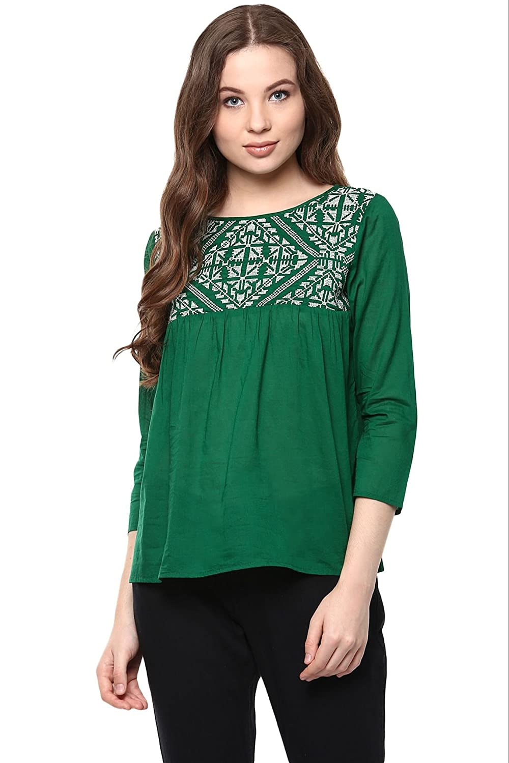 fa8595a1 The Vanca Women Dark Green Rayon top with embroidery at yoke(TSF400875-Green-S):  Amazon.in: Clothing & Accessories
