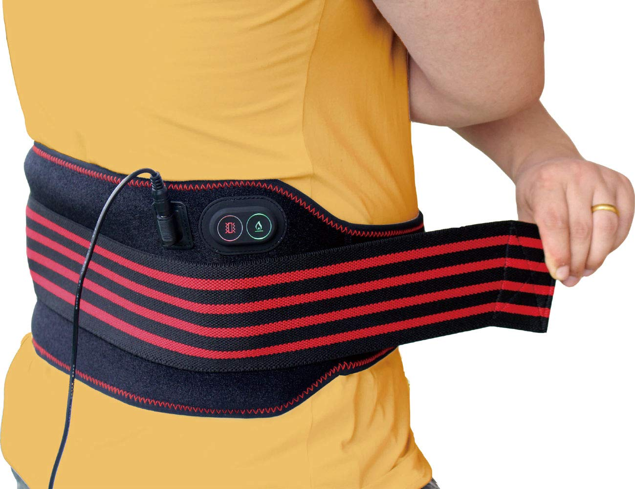 sticro Lower Back Massage Heating Pad Belt, 3 Temperature & Vibration Setting Heated Waist Therapy Wrap for Pain Relief of Abdominal Stomach Lumbar Muscle Strain, Menstrual Cramps