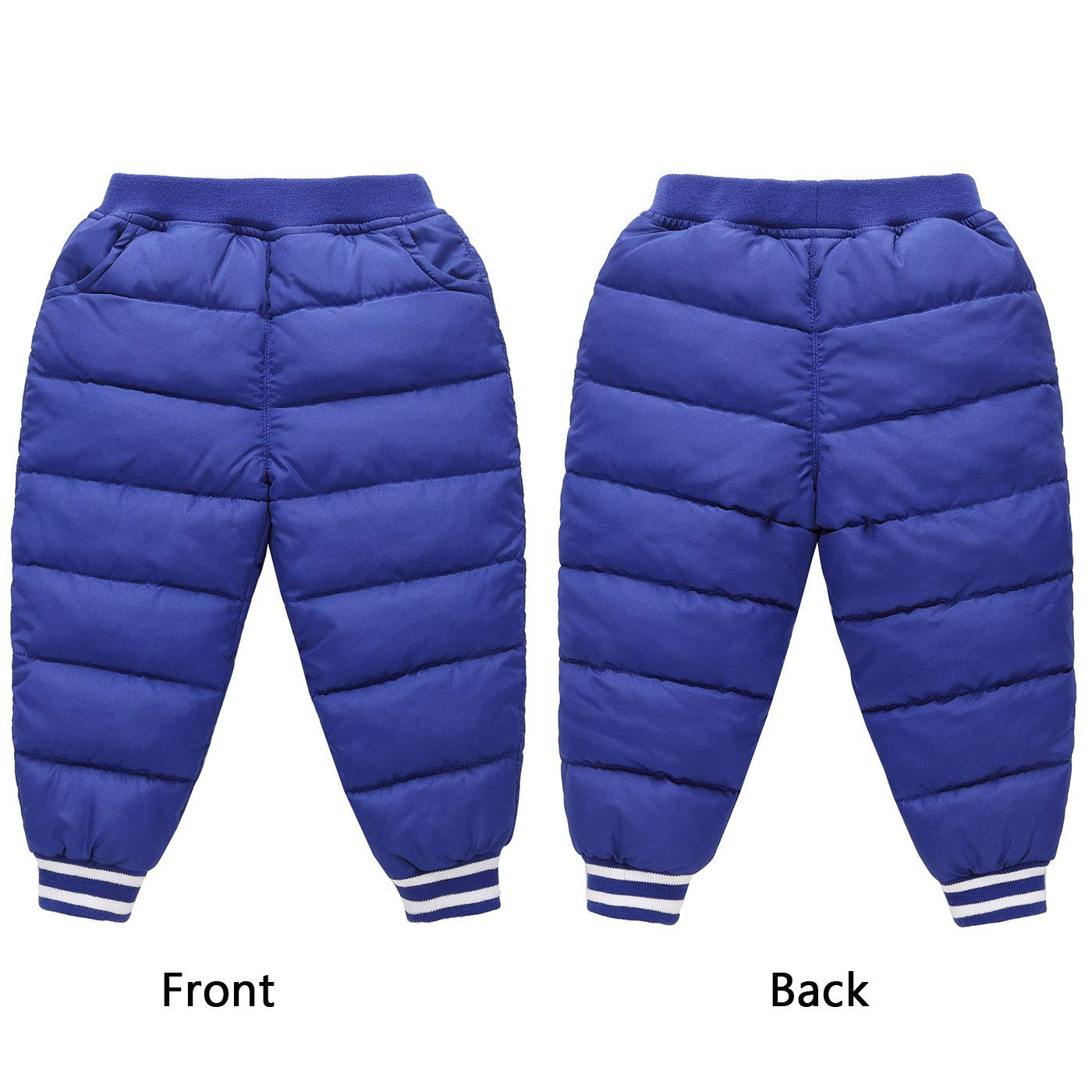 Winter Boy Girl High Waist Thicken Down Pants Elasticity Warm Trousers Blue for 4-5T