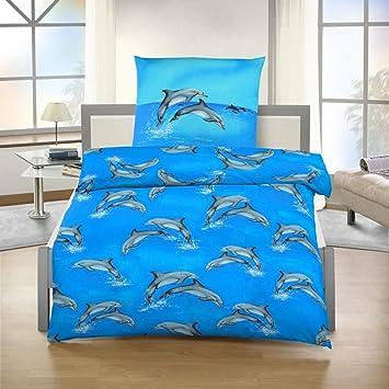 Bettwäsche Delfin Fein Biber Blau 135x200 Cm 80x80 Cm Amazonde