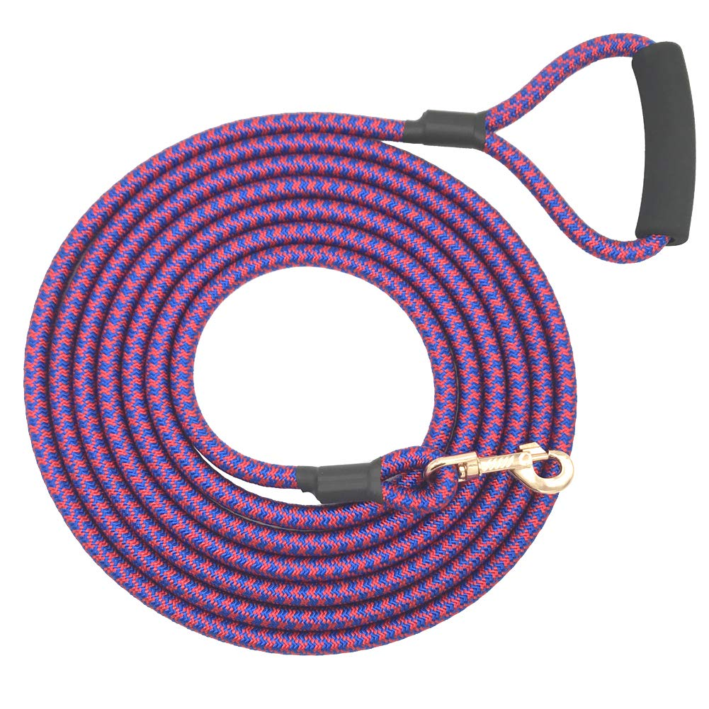 Shorven Nylon Strong Dog Rope Lead Leash Training Dog Lead with Soft Handle 6-20 FT Long Blue/Red (Dia:0.5'' 15FT) by Shorven (Image #1)