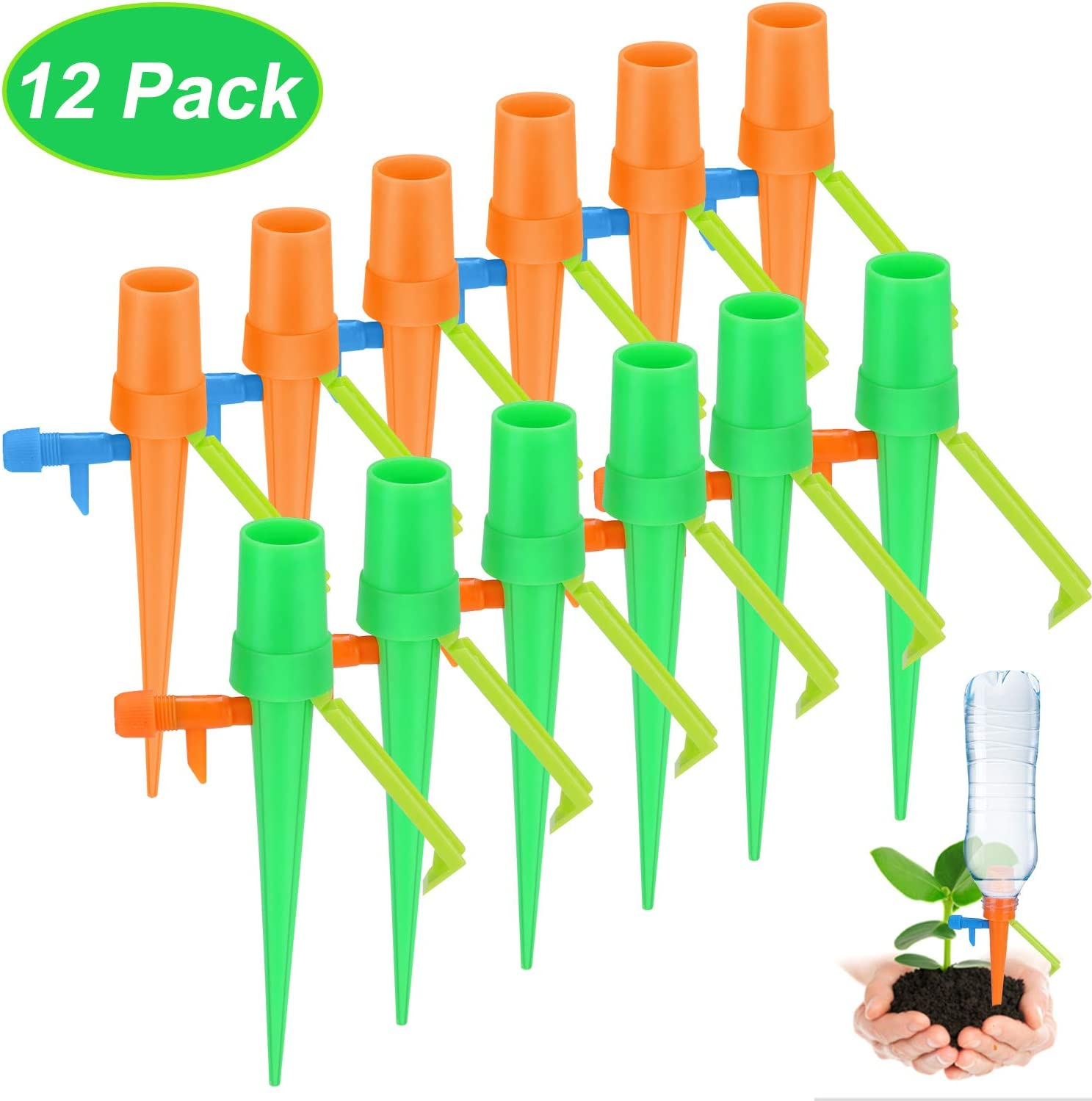 F&T Upgraded Version Plant Watering Devices Plant Self Watering Spikes with Valve Control Switch & Anti-tilt Bracket Suitable for Outdoor IndoorPotted Plant Flower(12 Pcs)