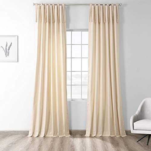 HPD Half Price Drapes PRCT-S15B-96-TT Solid Cotton Tie-Top Curtain 1 Panel