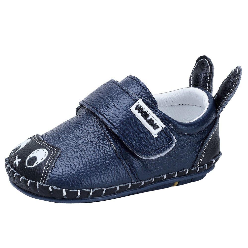 Kuner Infant Baby Boys Girls Genuine Leather Soft Bottom Non-Slip First Walkers Shoes (13.5cm(18-24months), Cartoon Blue)