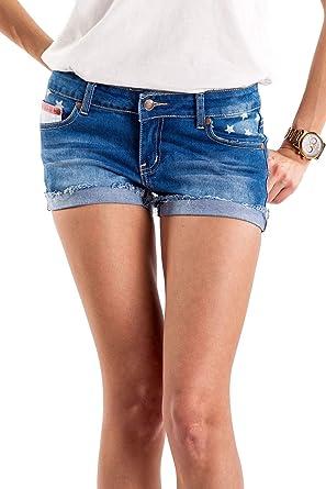c93ba6d019 Tipsy Elves Women's Patriotic Red White and Blue Summer Beach Denim Jean  Shorts (X-
