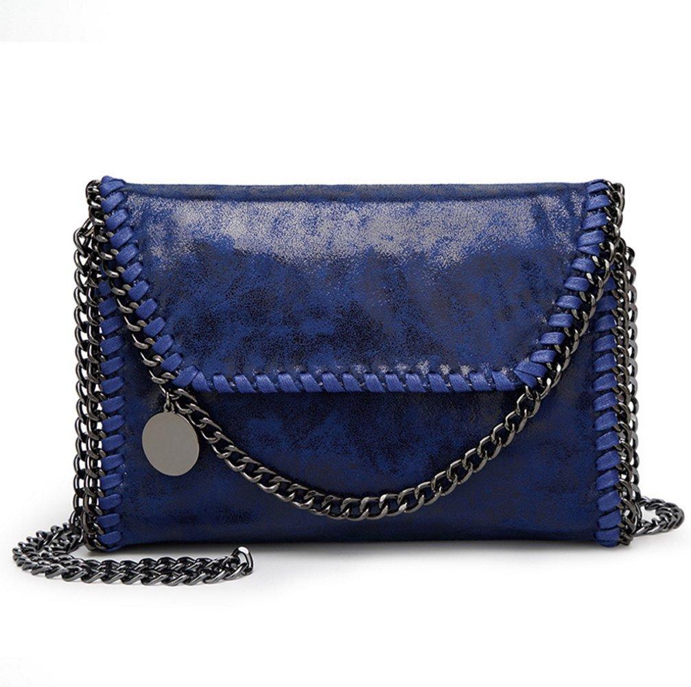 Valleycomfy Frauen Handtaschen Elegante Schultertasche Metallic Kette Riemen PU Leder Cross Body Taschen Handtasche