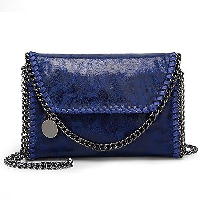26c189f1f4e49 Valleycomfy Damen Handtaschen Clutches Elegante Schultertasche Metallic  Kette Riemen PU Leder Cross Body Taschen Handtasche (