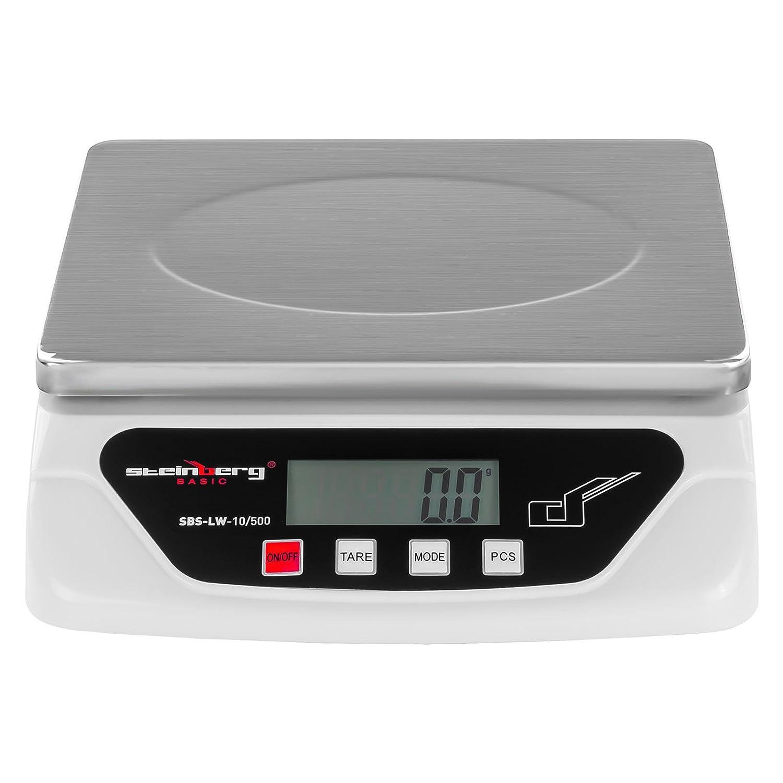 Steinberg BASIC SBS-LW-10/500 Bilancia Elettronica Bilancia Digitale Pesalettere (10 kg / 0,5 g, Schermo LCD Retroilluminazione, Alimentazione 2 Batterie AA o Adattatore AC/DC ADAPTER 6V) Argento