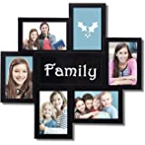 "Adeco 6 Openings Decorative Black ""Family"" Wall Hanging Collage PIcture Photo Frame - Made to Display Six 4x6 Photos (4 Vertical, 3 Horizontal)"