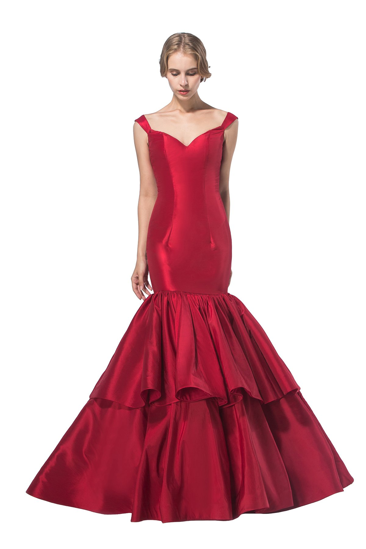 AISLE STYLE Modern Off Shoulder Mermaid Long Ruffled Evening Dress