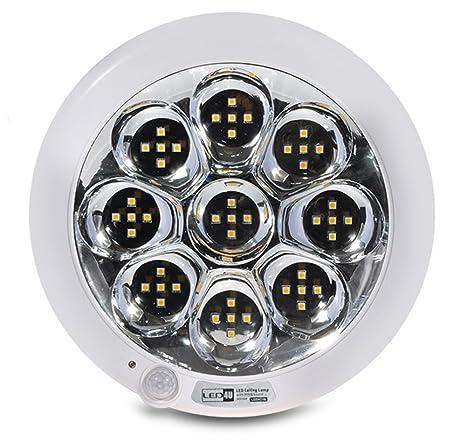 Led4u - Plafón de Techo led con Sensor de Movimiento y Sonido Blanco frío o cálido