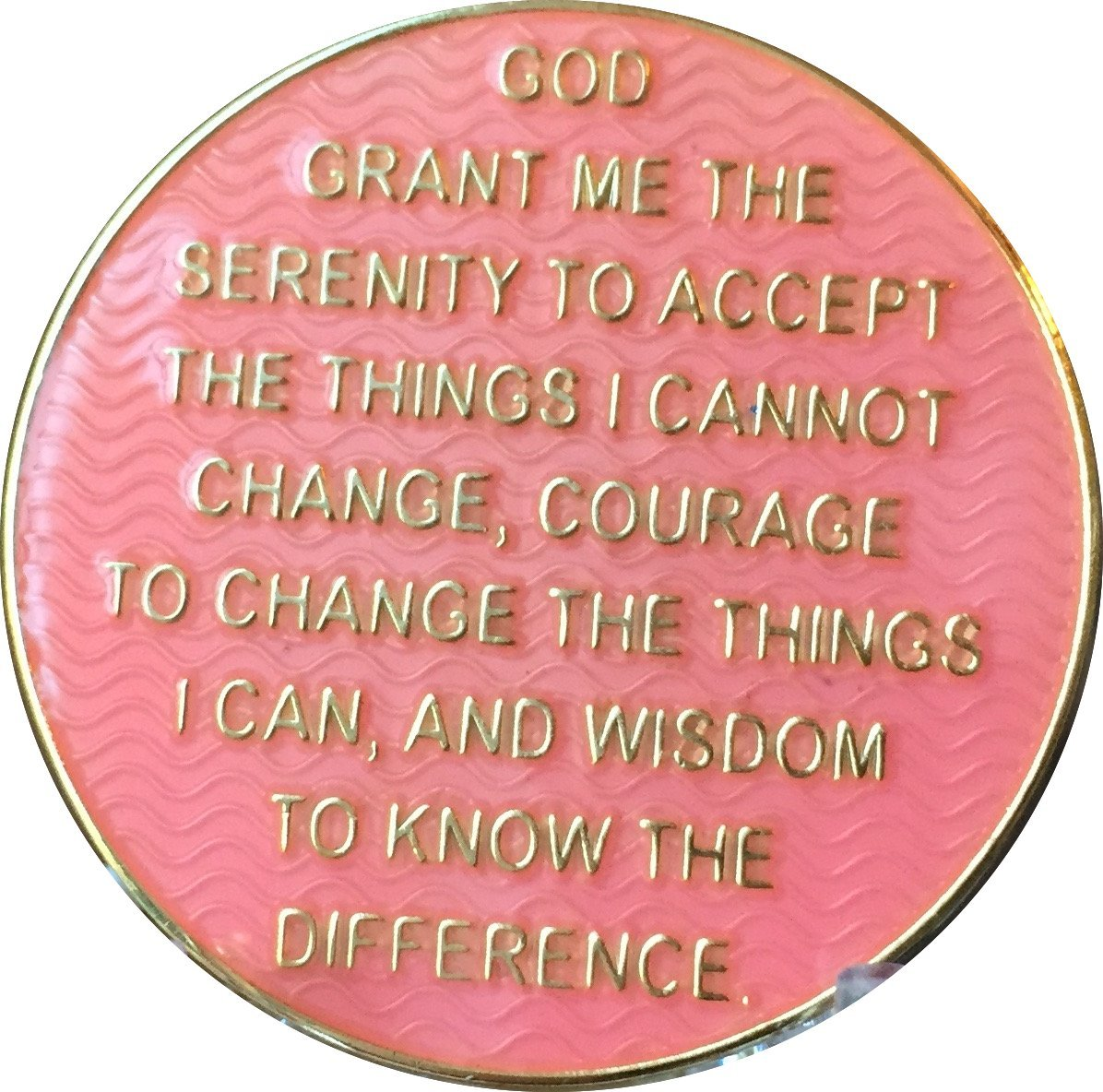 1 Year AA Medallion Reflex Pink Gold Plated Sobriety Chip RecoveryChip