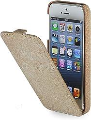 StilGut UltraSlim, housse en cuir pour iPhone 5, 5s & iPhone SE d'Apple, Marron granuleux