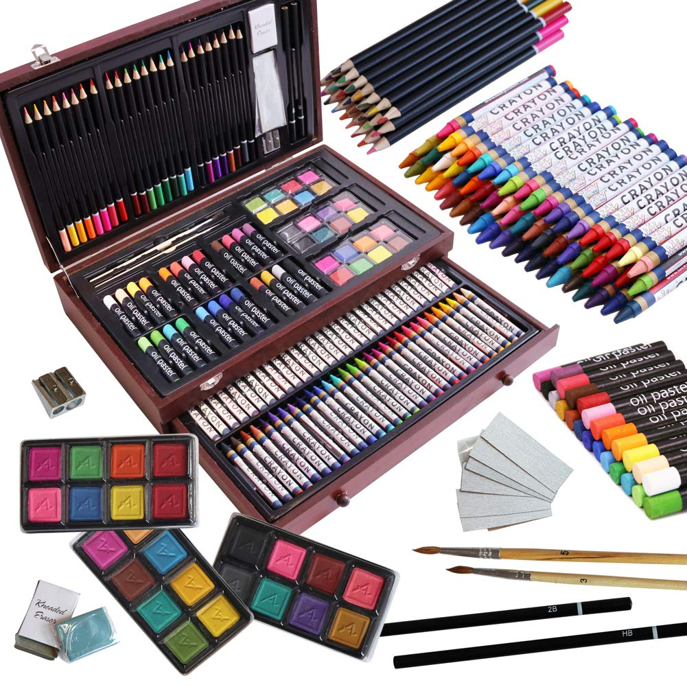 143 Piece Deluxe Art Set,Artist Drawing&Painting Set,Art Supplies with Wooden Case,Professional Art Kit for Kids,Teens and Adults by LUCKY CROWN