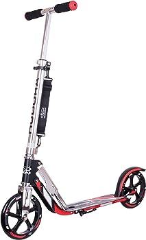 Hudora 205 Adult Folding Kick Scooter- 2 Big PU Wheels 205 mm, Adjustable Bar,Reinforced Deck