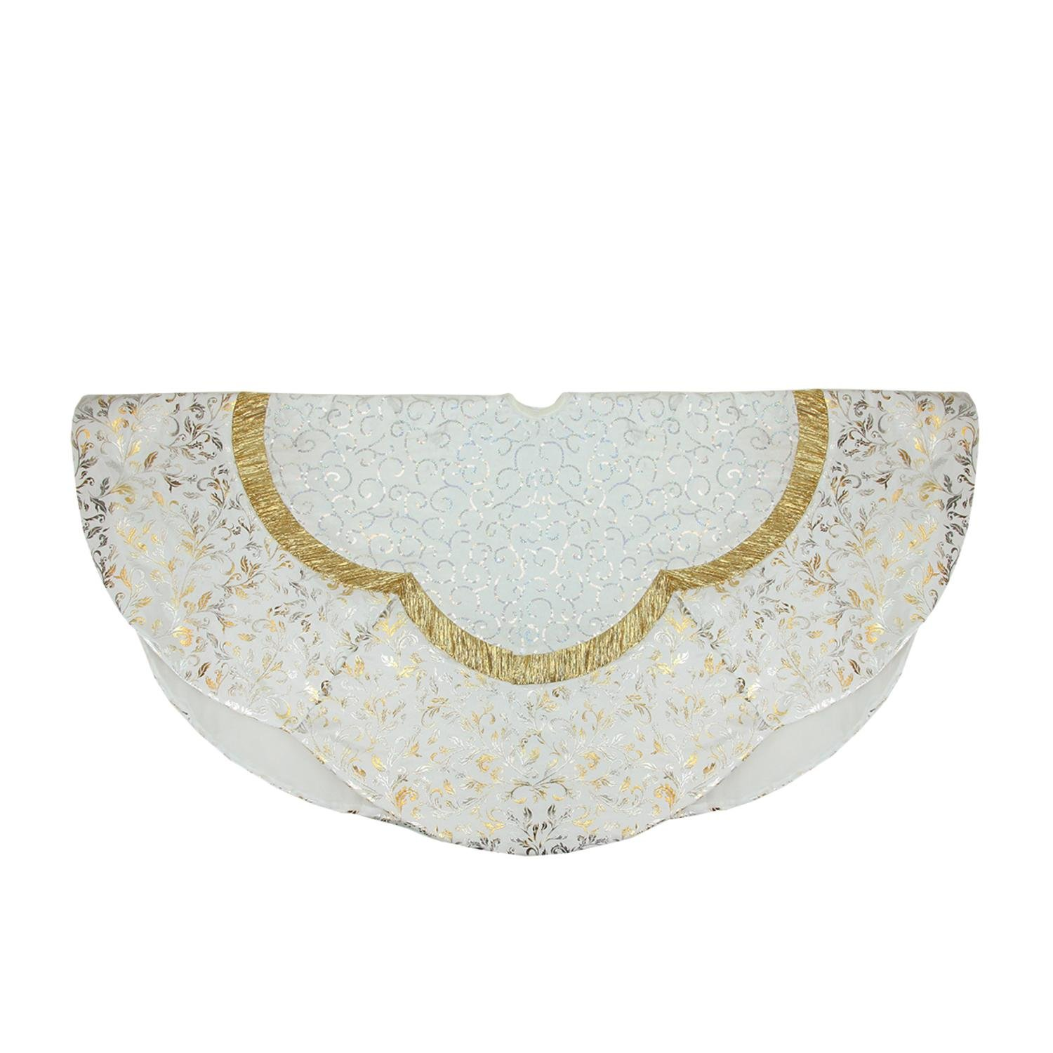 Northlight 48'' White Sequin and Metallic Silver Ombre Flourish Scallop Christmas Tree Skirt Accessories, Gold by Northlight